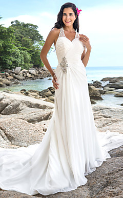 Sheath/Column V-neck Chapel Train Chiffon Wedding Dress