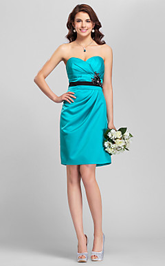 Sheath/Column Spaghetti Straps Mini/Short Satin Bridesmaid Dress
