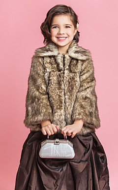 Brilliant Faux Fur Long Sleeve Flower Girl Party / Hochzeit Coat