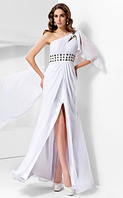 Trumpet/Mermaid One Shoulder Floor-length Chiffon Evening Dress With Watteau Train