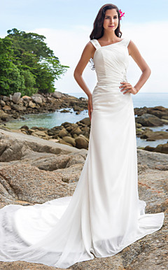 Sheath/Column Straps Chapel Train Chiffon Wedding Dress