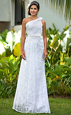 Sheath/Column One Shoulder Floor-length Lace Wedding Dress
