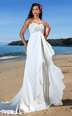 Sheath/Column Sweetheart Court Train Chiffon Wedding Dress