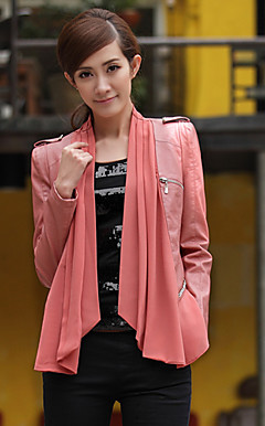 Long Sleeve Standing Collar PU/Chiffon Casual/Party Jacket(More Colors)