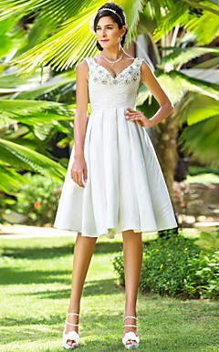 A-line V-neck Knee-length Taffeta Wedding Dress