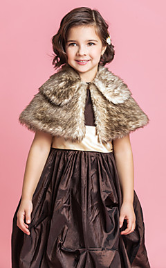 Brillante Faux Fur maniche Flower Girl Party / Matrimonio Poncho