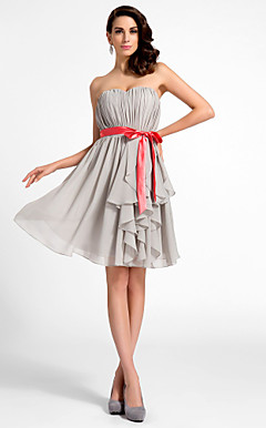 A-line Sweetheart Knee-length Chiffon Cocktail Dress