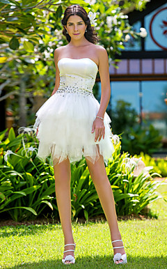 Ball Gown Strapless Short/Mini Satin And Tulle Wedding Dress