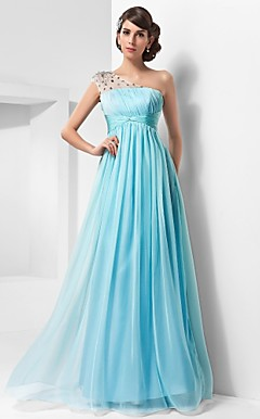A-line One Shoulder Floor-length Chiffon And Tulle Evening Dress
