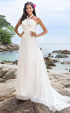 A-line Halter Chapel Train Chiffon Wedding Dress