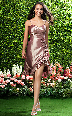 Sheath/Column Sweetheart Asymmetrical Taffeta Bridesmaid Dress