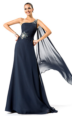 Sheath/Column One Shoulder Sweep/Brush Train Chiffon Evening Dress