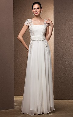 Sheath / Column Square Floor-length Chiffon Wedding dress