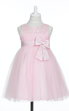 A-line Sleeveless Satin/Tulle Wedding/Evening Flower Girl Dress