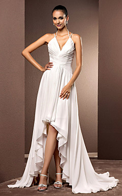 Sheath/Column V-neck Asymmetrical Organza Wedding Dress