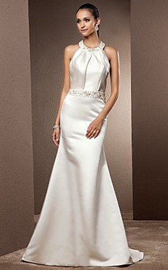 Trumpet/Mermaid Jewel Sweep/Brush Train Satin Wedding Dress