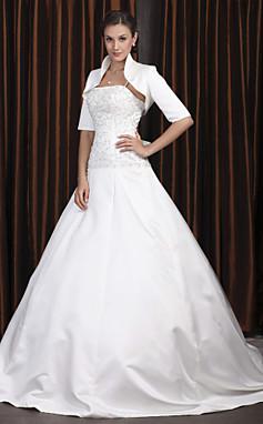 الجملة الجملة [XmasSale]فستان الزفاف الأشرطة ثوب الكرة مصلى قطار الساتان السباغيتي مع التفاف