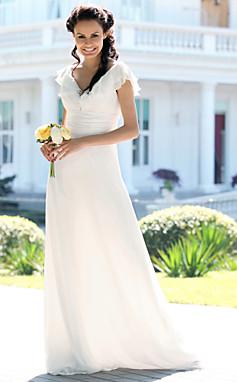 الجملة الجملة [XmasSale]غمد / عمود الخامس عنق الكلمة طول الشيفون الزفاف، الساتان دنة فستان