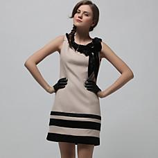 venta al por mayor cinta de color beige adornado vestido sin mangas escote redondo / vestidos de las mujeres (y siguientes-a-bk1200001)