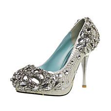 strass cristal couro salto agulha superior fechada toe sapatos de casamento / festa (1181-1028-3)