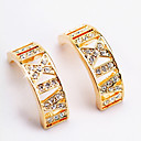 Yellow Gold Simulated Diamond Hoop Earrings (ME001) (Start From 24 Units)-Free Shipping