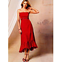 A-line Strapless Tea-length Satin Bridesmaid Dress (YCF134) (Start From 3 Units) Free Shipping