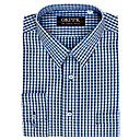 Men's Long Sleeve Solid Point Collar Gingham Dress Shirt (QRJ002-3) -Free Shipping by Air Mail