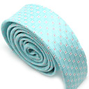 Light Blue Narrow Gingham Check Tie With Red Dots (QRJ033) -Free Shipping by Air Mail