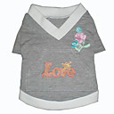 "Fashionable ""Love""Dog T-Shirt With Embroidered Flower (BV092) (Start From 10 Units)-Free Shipping"