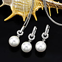 Cultured Pearl Shining White Gold Plated Earring + Pendant Set