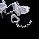 Fashion Cubic Zirconia Heart Chain Bracelet in Rhodium Plated - CZ Bracelet BYX7-0001 (SZY171)