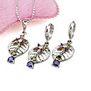 Platinum Multi-color CZ Leaves Jewelry Set - CZ Jewelry Set 80917-02 (SZY513)