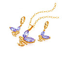 18K Gold Plated Angel CZ Jewelry Set - CZ Jewelry Set SMY--0014-Lavender (SZY510)