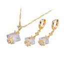Square Faceted Cubic Zirconia Earring And Necklace Set - CZ Jewelry Set SZF-0040 (SZY1184)