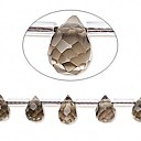 Bead, smoky quartz (irradiated/heated), 9x6mm faceted teardrop. Sold per 16-inch strand (BEGB3710)