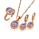 18K Gold Shell Pearl Earring Stud and Necklace -CZ Jewelry Set 90224-05(SZY1486)