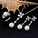 Platinum Elegant Freshwater Pearl and CZ Necklace,Earring and Ring Set-Cubic Zirconia Jewelry Set