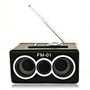 Digital Speaker With Blue Light and FM Radio For IPOD/MP3 Player/Wood Black (FM-1)