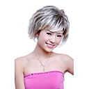 Capless Short Synthetic Black With Grey Curly Hair Wig