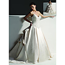 Ball Gown V-neck Chapel Train Satin Wedding Dresses for Bride (HSX117)