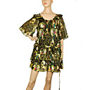Beauty Face Print Silk Tunic Dress (0546089)