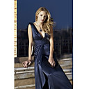Serena Empire V-neck Floor-length Satin Gossip Girl Fashion Dresses / Evening Dresses (FSD0281)
