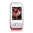 E66 Tri Band Dual Card Bluetooth Slide FM Music Cell Phone Red and Silver (2GB TF Card)