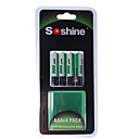 Soshine 1100mAh Ni-MH oplaadbare AAA-batterijen met case (4-accu)