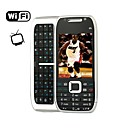 E75 Style WIFI Quad Band Dual Card Dual Standby TV Dual Camera JAVA QWERTY Keypad Metal Cover Side Slide Cell Phone Silver and Black