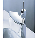 Single Handle Chrome Water-fall Bathroom Sink Faucet (Cold and Hot Switch) (0743-J-FL1009+10CN)