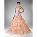 Ball Gown Strapless Floor-length Taffeta Organza Prom/ Evening/ Homecoming Dress (FSD0238)