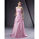 A-line Strapless Floor-length Taffeta Bridesmaid/ Wedding Party Dress