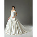 Ball Gown Off-the-shoulder Chapel Train Satin Embroidery Wedding Dress (WSM0447)