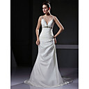 Trumpet / Mermaid Spaghetti Straps Court Train Satin Wedding Dress with Crystal Empire